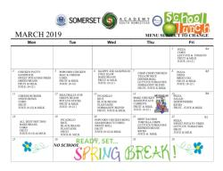 March Lunch Schedule - Updated 3.8.19